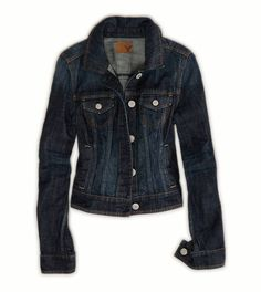 Dark denim jacket from American Eagle.  Perfect for pairing with cozy scarves and cute dresses! The dark colour matches with everything, and it has a great fitted silhouette.