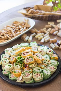 More party/housewarming/shower ideas: wrap sandwiches in bite-sized, traded. Love the presentation and simplicity of the (linked) party. In the background, pretzels and cookies are traded as well.