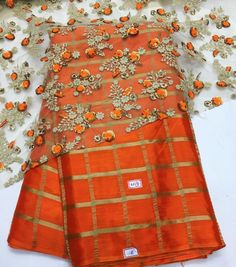"""Beautiful Orange chiffon """"To purchase this product mail us at… Beautiful Blouses, Beautiful Saree, Indian Attire, Indian Wear, Indian Dresses, Indian Outfits, Jute, Simple Sarees, Fancy Sarees"""