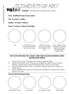 Value Worksheet Art Worksheets for all Elements And Principles, Elements Of Art, Design Elements, Classroom Tools, Teacher Tools, Art Sub Lessons, Intro To Art, Art Handouts, Art Education Resources