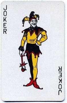 "Playing-card Joker, 20th century. Printed card stock, 3 1/2"" high. USA"