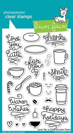 "LAWN FAWN: Love You A Latte (4"" x 6"" Unmounted Clear Acrylic Stamp Set) With lots of mugs, sentiments, accessories, and happy faces to choose from, the options are practically endless! This Package in"