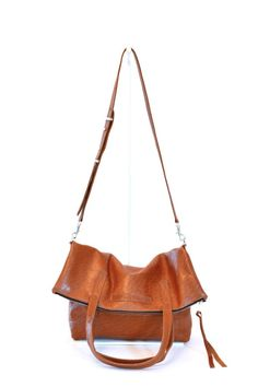 #24 Two Way Tote / High Shine Acorn #leather