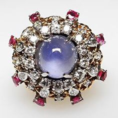 VINTAGE PRINCESS COCKTAIL RING STAR SAPPHIRE DIAMOND & RUBY SOLID 14K GOLD