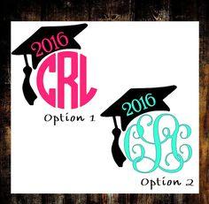 Graduation Cap Decal||Monogram Graduation Decal||Class Of 2016||Custom Graduation Cap||Graduation Decal||Monogram Decal||Graduation Gift