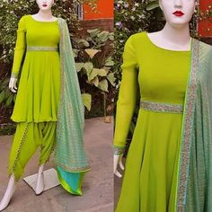Buy Lime Color Dhoti Kurta by Akanksha Singh at Fresh Look Fashion Simple Pakistani Dresses, Indian Gowns Dresses, Pakistani Dress Design, Girls Dresses, Salwar Designs, Kurti Designs Party Wear, Blouse Designs, Patiala Salwar, Shalwar Kameez