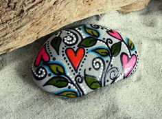 Peaceful Garden / Painted Rock /Sandi Pike by LoveFromCapeCod