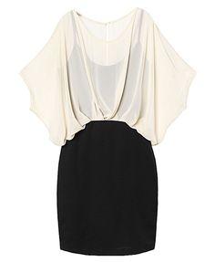 Zip Chiffon Dress with Batwing Sleeves