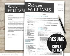Creative Resume Template Instant Download  by BusinessBranding, $15.00
