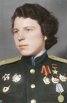 Major Evdokia Andreevna Nikulin, squadron commander of the 46th Guards Night Bomber Regiment and Hero of the Soviet Union. She was decorated with the Order of Lenin, Hero of the Soviet Union, Order of the Red Banner twice, Soviet Guards Badge, Order of Alexander Nevsky, Order of the Patriotic War and Defense of the Caucasus medal.