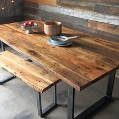 "Our reclaimed wood modern dining table with hand welded ""U-Shaped"" steel legs is made from reclaimed planks salvaged from a midwestern barn. Years have naturally aged the wood to create a beauty and detail that cannot be replicated, truly making each table one of a kind! The table has been sanded to remove the wood's texture and finished to perfection! U-Shaped Metal LegsWood: Reclaimed HardwoodsWood Age: 100+ Years Old WoodThickness: 1.5 - 1.75""Wood Origin: Northern Illino..."