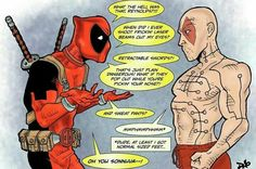 """""""Deadpool meets his retarded """"twin"""". I kept thinking about how disappointing it was that they sewed his mouth shut, effectively getting rid of the greatest thing about deadpool."""" Hated everything about that """"deadpool"""" Deadpool Y Spiderman, Deadpool Funny, Deadpool Stuff, Deadpool Movie, Batman, Marvel Vs, Marvel Dc Comics, Marvel Heroes, Deadpool Comics"""