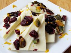 White chocolate cranberry pistachio bark. Colorful, fresh, fun. Of course, all they had to say was white chocolate.