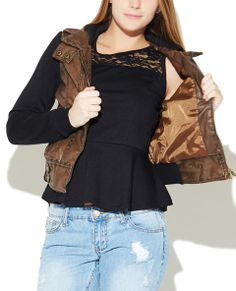 """This bomber jacket is the perfect way to add some edge to any outfit, it features a distressed faux leather body with tab detailing, zipper pockets, multiple seams, fleece hoodie and sleeves, zipper closure, and ribbed trim. Jacket is fully lined. Model is 5'10"""" and wears a size small      Shell: 100% Polyurethane - Contrast: 100% Polyester     Hand Wash     Imported"""