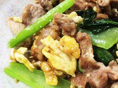 タレが絡む☆豚肉と卵、小松菜の炒めものの画像