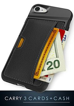 CM4 iPhone 7 Wallet Case – Q Card Case for iPhone 7 [Slim Protective Kickstand Grip Cover] – Black Onyx