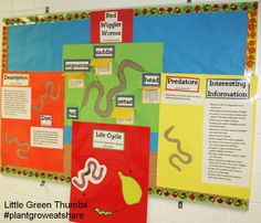 Worm bulletin board idea by one of our amazing Little Green Thumbs teachers.