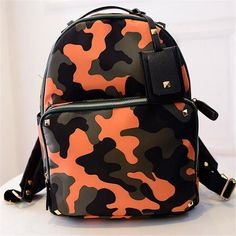 Hot Trend Designer Colorful Camouflage Large-Capacity Quality PU Leather Backpack 5 Colors