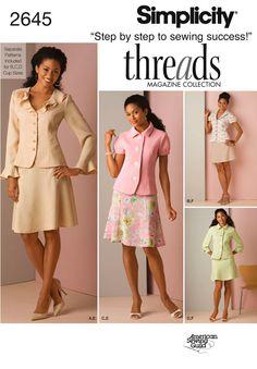 Simplicity Misses Suit Threads Collection 2645 Suit Pattern, Jacket Pattern, Simplicity Sewing Patterns, Vintage Sewing Patterns, Design Patterns, Suit With Jacket, Sewing Shirts, Miss Dress, Skirt Suit