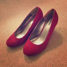 Brand new red suede wedges Never worn super comfortable wedges. Shoes Wedges