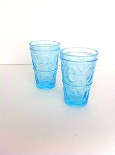 Vintage Aqua Textured Glass Light Blue Tumblers by Pesserae on Etsy