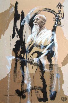 Morihei Ueshiba is the creator of aikido martial art.Training with kendo! Aikido Martial Arts, Best Martial Arts, Martial Arts Styles, Martial Arts Techniques, Martial Artists, Art Of Fighting, Art Asiatique, Warrior Spirit, Peace Art