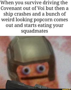 When you survive driving the Covenant out of Voi but then a ship crashes and a bunch of weird looking popcorn comes out and starts eating your squadmates - iFunny :) Funny Gaming Memes, Funny Car Memes, Roblox Memes, Gamer Humor, Stupid Memes, Video Game Memes, Video Games Funny, Funny Games, Halo Funny