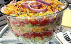 Chilled Stacked Salad from Party Pleasers: 57 Easy Potluck Recipes Easy Potluck Recipes, Great Recipes, Cooking Recipes, Favorite Recipes, Potluck Ideas, Luncheon Recipes, Interesting Recipes, Party Recipes, Yummy Recipes