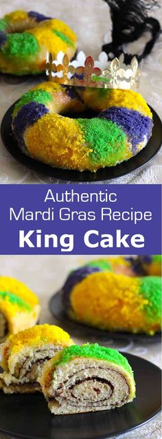King cake one of the most popular Mardi Gras traditions in New Orleans is a delicious cinnamon-filled glazed cake that is sprinkled with colored sugar MardiGras Carnaval NewOrleans # Cajun Recipes, Easy Cake Recipes, Dessert Recipes, Cooking Recipes, Haitian Recipes, Louisiana Recipes, Donut Recipes, Mardi Gras Centerpieces, Mardi Gras