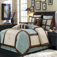 Modern Color Block Blue Brown Comforter and Shams Set with Decorative Pillows.  The complete bedding includes pillow shams and one tailored bed skirt. Perfect bedding set for your contemporary modern bedroom decor.