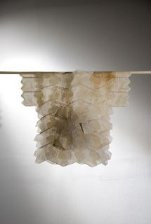 Judy Gregory Tea Shirt Series: Expectant, 2010 used tea bags, (smokebush) seed bull 20 x 24 x 10 inches