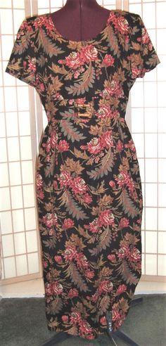 Donna Morgan Sz 12 Pink & Black Brocade Floral Linen Blend Pencil Dress #DonnaMorgan #SheathDressPencilDress #PartyCocktailCareer