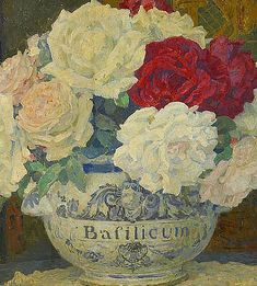 Edgar Maxence Red and White Roses in a Bowl 20th...