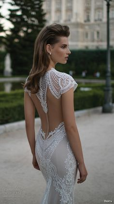 berta fall 2016 bridal jewel neckline cap sleeves lace embroidered sheath wedding dress back