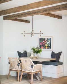The dining room of your dreams is here to make your home interior decor the one you want to achieve. Get the dining room lighting for your perfect contemporary home decor. Dining Nook, Dining Room Lighting, Dining Room Design, Dining Room Table, Nook Table, Dining Corner, Dining Chairs, Corner Table, Wicker Chairs