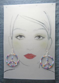 Large Sterling Silver Peace Earrings - Swarovski Crystals Multi Color - #52811o53