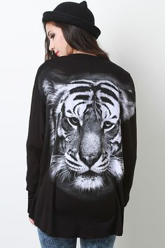 Show off your love for the animal kingdom in this Grand Tiger Cardigan! This cardigan features soft jersey knit, open front, long dolman sle...