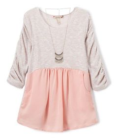 This Tusk & Coral Ruche Three-Quarter Sleeve Top - Girls is perfect! #zulilyfinds