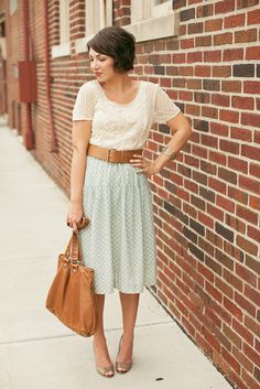 Vintage outfit.  Cream lace, mint green, leather bag & belt.