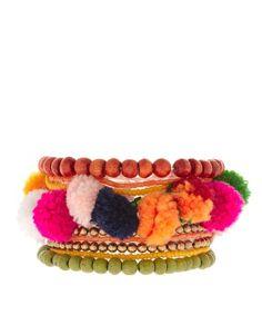 ASOS Bright Festival Wristwear Pack with Pom Poms