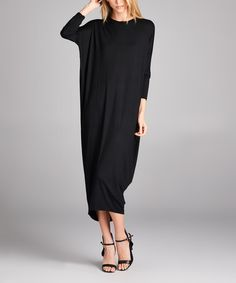 Love this Black Dolman Midi Dress on #zulily! #zulilyfinds