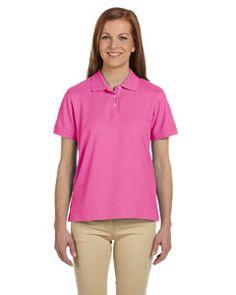 Devon & Jones Ladies' Pima Piqué Short-Sleeve Polo #breastcancerawareness #findthecure #pinkarmy #fightlikeagirl #hope #pink #pinkfighter #pinkribbon #earlydetection #october #carpediemsalesandmarketing #carpediem #brand #promotionalproducts #savethetatas #pinktober