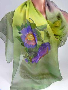 Silk Scarf Wild Rose purplegreen Batik handpainted on by lavanita, $99.00