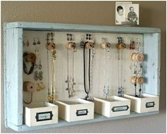 DIY Hanging Jewelry Storage Display by A Time For Everything Hanging Jewelry Organizer, Jewelry Organization, Organization Ideas, Storage Ideas, Diy Storage, Wall Storage, Storage Solutions, Bracelet Organizer, Bedroom Organization Diy
