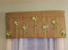 Floral Burlap Valance II / 38W x 16L by CraftyAmour on Etsy, $40.00