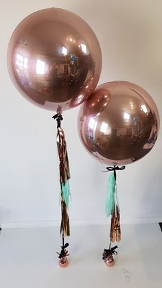 Rose Gold Orbz With Hand Made Tassels WOW Balloons Birthday