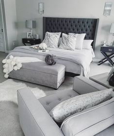 gray and white bedroom ideas on a budgetcozy gray and white bedroom ideas; Bedroom ideas for small spaces; Bedroom decor on a budget; Bedroom decor ideas color schemes bedroomdecor homedecorlook decoration a color grey White Bedroom, Black Bedding, Bedroom Makeover, Bedroom Decor, Bedroom Inspo, Master Bedroom Remodel, Small Bedroom, Remodel Bedroom, Luxurious Bedrooms
