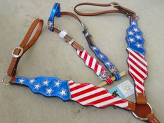Magic's Custom Tack patriotic red white and blue Stars and Stripes breast collar and headstall set! Www.magicscustomtack.com