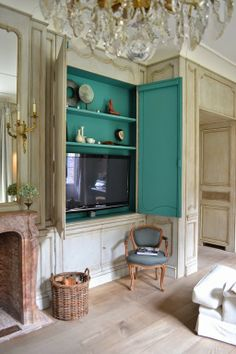 Great tv cabinet and daring color!