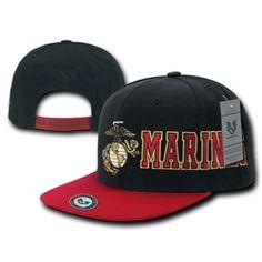 54bcd63674b Us Marine Corps Usmc Marines Retro Flat Bill Snapback Military Baseball Cap  Hat